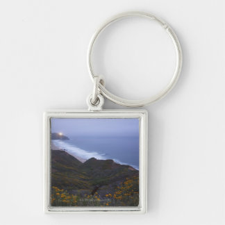 Pt. Sur Lightstation and flowering chapparal, Silver-Colored Square Key Ring