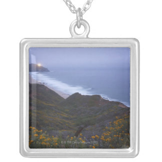 Pt. Sur Lightstation and flowering chapparal, Silver Plated Necklace