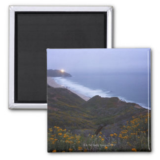 Pt. Sur Lightstation and flowering chapparal, Square Magnet