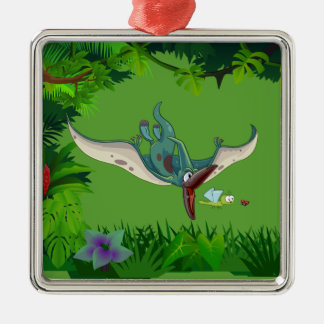 Pteranodon eating a dragonfly eating a ladybug christmas ornament