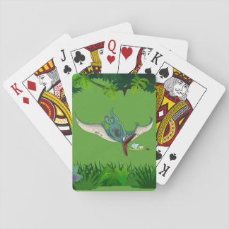 Pteranodon eating a dragonfly eating a ladybug playing cards