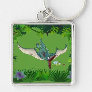 Pteranodon eating a dragonfly eating a ladybug Silver-Colored square key ring