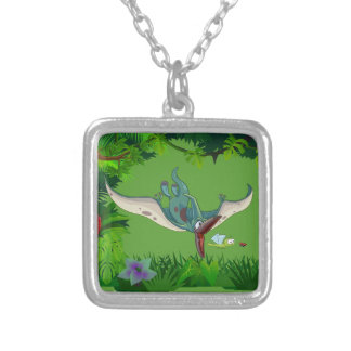Pteranodon eating a dragonfly eating a ladybug silver plated necklace