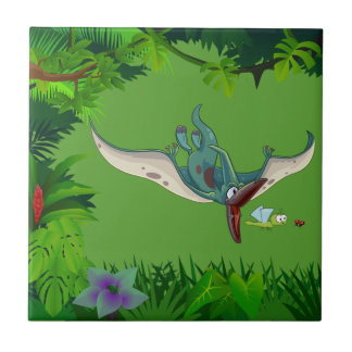Pteranodon eating a dragonfly eating a ladybug small square tile