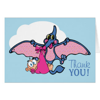 Pterodactyl Dinosaur Girl Baby Shower Thank You Card