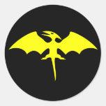 Pterodactyl Dinosaur Superhero Logo Round Sticker