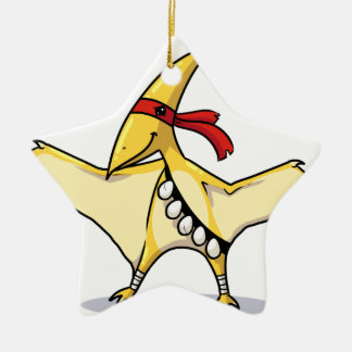 Pterodactyl has eggs and knows how to use them ceramic star decoration