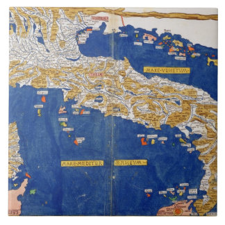 Ptolemaic Map of Italy, 1482 (coloured litho) Tile