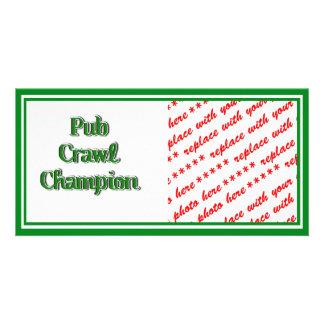 Pub Crawl Champion Text Image Photo Greeting Card