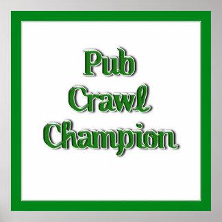 Pub Crawl Champion Text Image Posters
