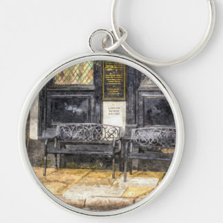 Pub Resting Place Art Silver-Colored Round Key Ring