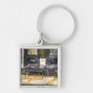 Pub Resting Place Art Silver-Colored Square Key Ring