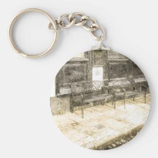 Pub Resting Place Vintage Basic Round Button Key Ring