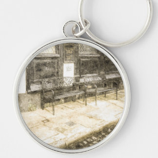 Pub Resting Place Vintage Silver-Colored Round Key Ring