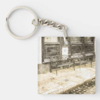 Pub Resting Place Vintage Single-Sided Square Acrylic Key Ring