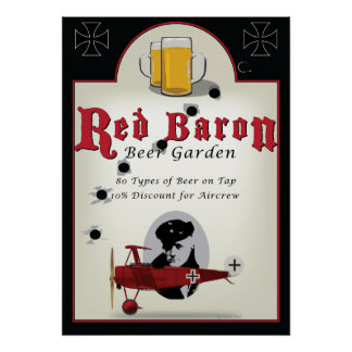 Pub Sign, Red Baron Beer Garden Posters