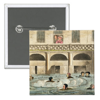 Public Bathing at Bath, or Stewing Alive, print pu 15 Cm Square Badge