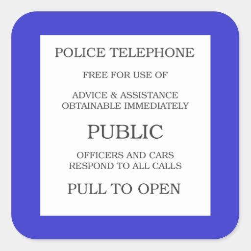 Public Call Box sign Square Sticker | Zazzle