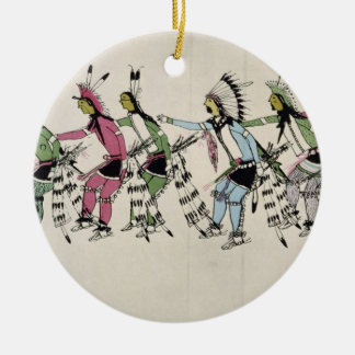 Public dance in honour of the warrior He Dog (ink Christmas Ornament
