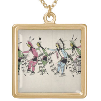 Public dance in honour of the warrior He Dog (ink Square Pendant Necklace