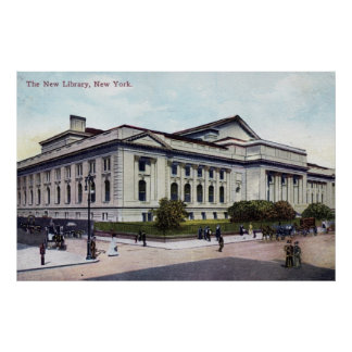 Public Library, New York City 1915 Vintage Poster