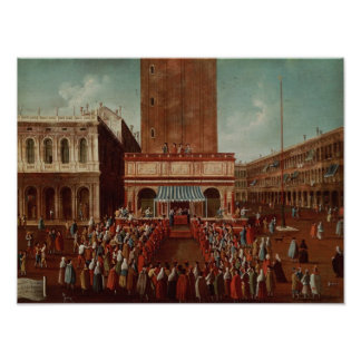 Public Lottery at Loggetta, the Piazza San Poster