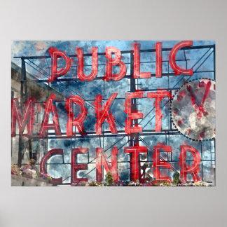 Public Market Center in Seattle Washington Poster