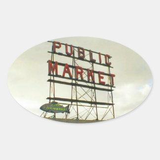 Public Market in Seattle, WA Oval Sticker