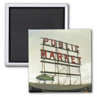 Public Market in Seattle, WA Square Magnet