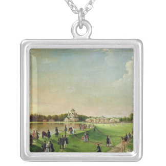 Public merry-making in Ostankino, 1840s Silver Plated Necklace