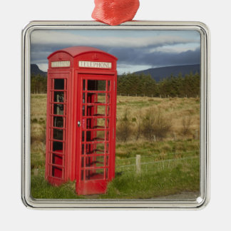 Public Phone Box, Ellishadder, near Staffin, Silver-Colored Square Decoration