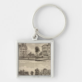 Public School, Court House, Minnesota Silver-Colored Square Key Ring