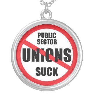 Public Sector Unions Suck Round Pendant Necklace