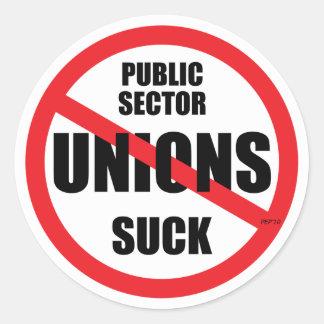 Public Sector Unions Suck Round Sticker