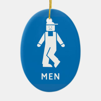 Public Toilet Men, Sign, California, US Christmas Ornament