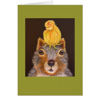 Puccini the squirrel with squash blossom card