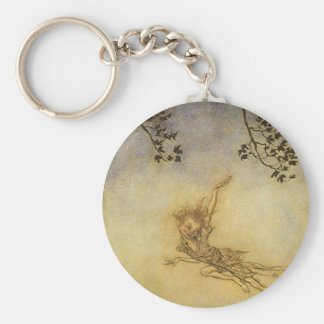 Puck, A Sprite by Arthur Rackham Basic Round Button Key Ring
