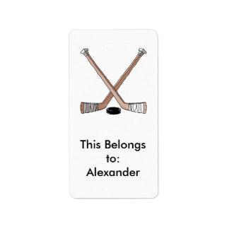 puck and hockey sticks design address label