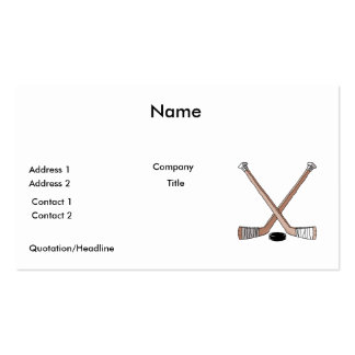 puck and hockey sticks design business card template