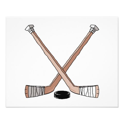 puck and hockey sticks design personalized flyer