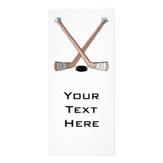 puck and hockey sticks design full colour rack card
