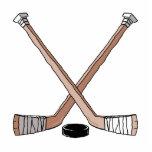 puck and hockey sticks design photo sculpture