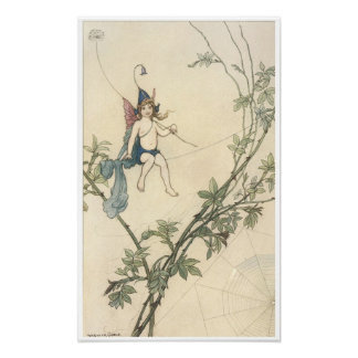 Puck Seated on a Spider's Web, Warwick Goble Posters