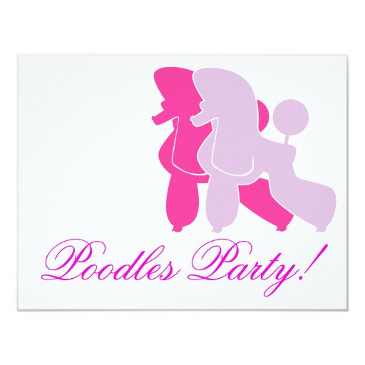 Pudel in Rosa pink 11 Cm X 14 Cm Invitation Card