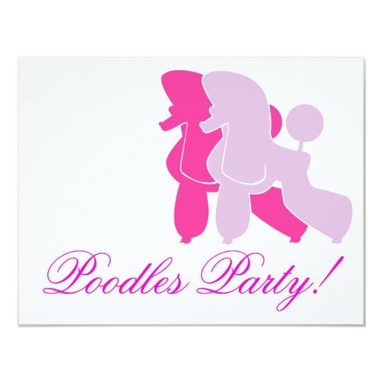 Pudel in Rosa pink 11 Cm X 14 Cm Invitation Card
