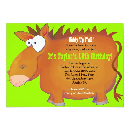 PUDGY PONY Horseback Birthday Party Invitation