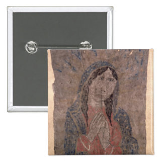 Pueblo Indian hide Painting of a Madonna, 1675 15 Cm Square Badge