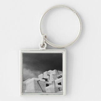 Pueblo style adobe Inn at Loretto, Santa Fe, New 2 Silver-Colored Square Key Ring