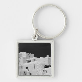 Pueblo style adobe Inn at Loretto, Santa Fe, New Silver-Colored Square Key Ring
