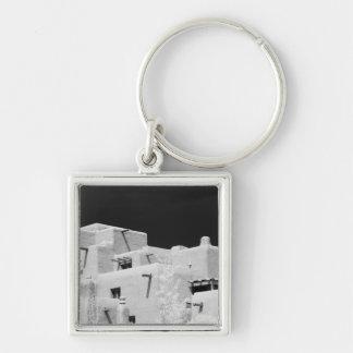 Pueblo style adobe Inn at Loretto, Santa Fe, New Silver-Colored Square Key Ring